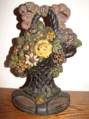 21: Cast Iron Flower Basket Door Stop