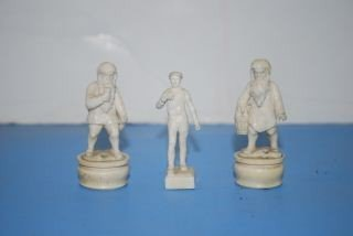 7: 3 Miniature Carved Ivory Figures