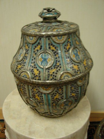 21: Moroccan Ceramic Urn With Metal Trim