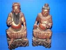157 Pair of Oriental Wood Figures