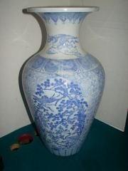 8: Oriental Blue and White Tall Vase