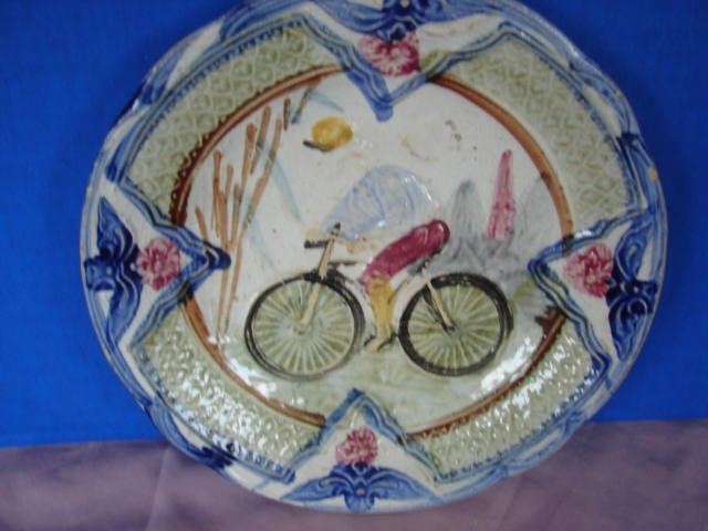 1: Majolica Plate with Bicycle & Rider