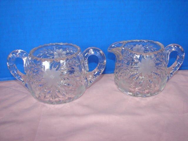 7: Cut Glass Creamer & Sugar Bowl