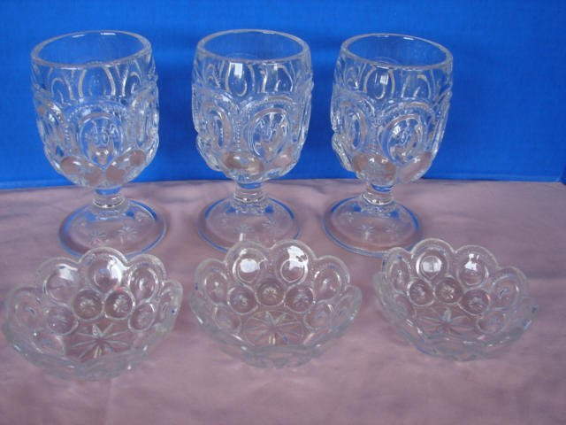 9: Moon & Star Pattern Glass Goblets & Bowls