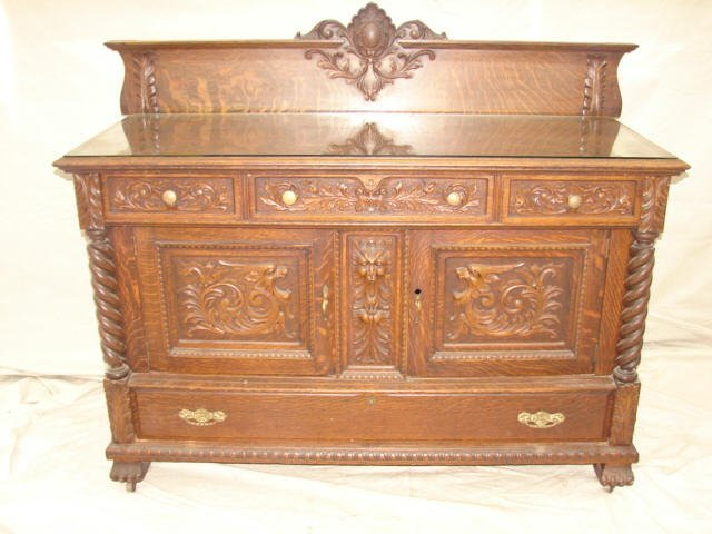 85: Ornate Oak Sideboard Attributed to Horner