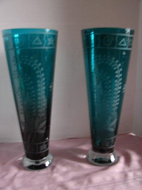 4A: Pair of Acid Etched Teal Vases