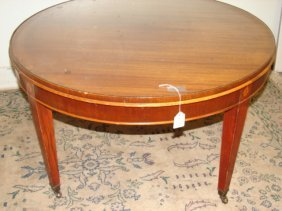 Round Mahogany Coffee Table With Inlay