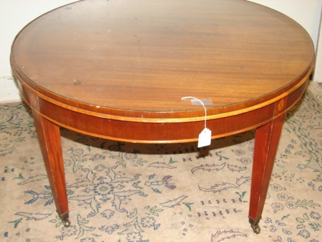 12: Round Mahogany Coffee Table with Inlay