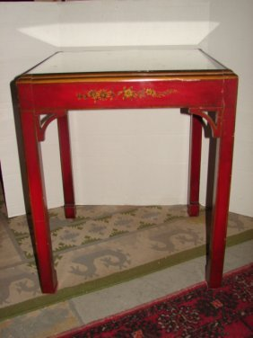 17: Red Lacquer Decorated Oriental Stand