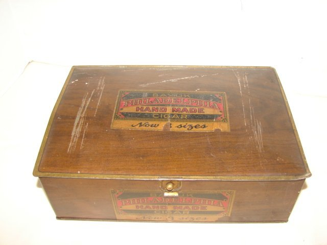 23: Bayuk Cigar Tin Litho Advertising Humidor