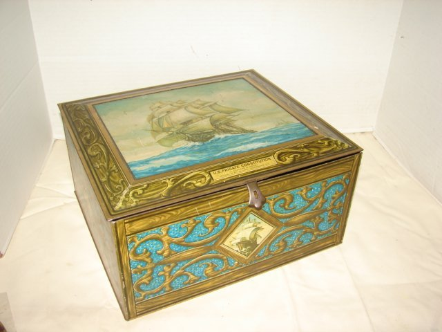 24: US Frigate Constitution Tin Litho Biscuit Box