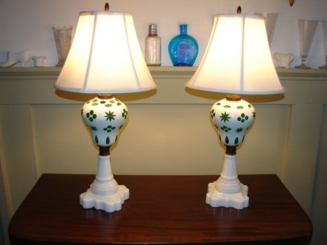 Pair of Green Bohemian Glass Table Lamps
