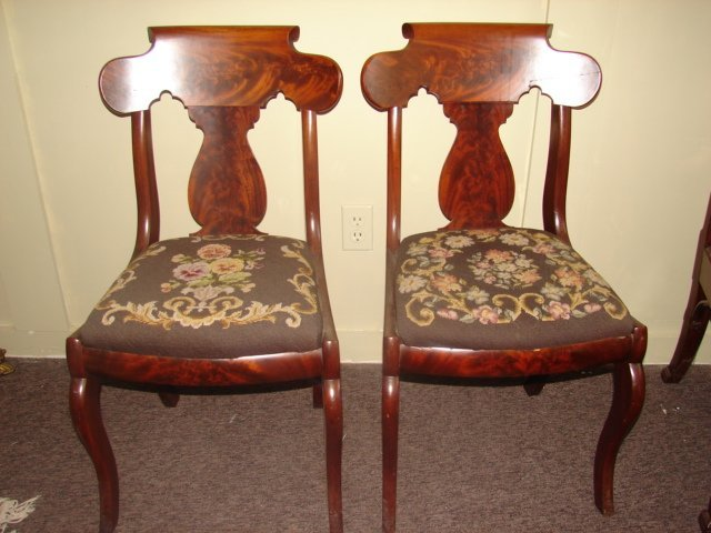 Pair of Empire Dining Chairs with Needlepoint Seats
