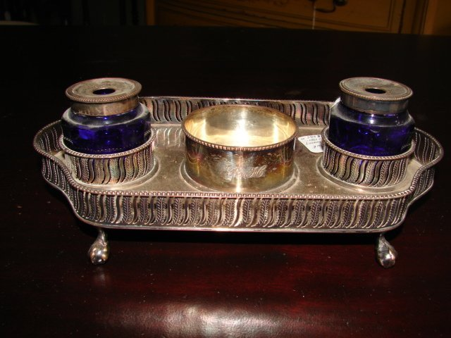 18th C Silverplate Inkwell with Cobalt Blue Glass