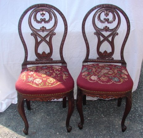 Pair of Needlepoint Side Chairs