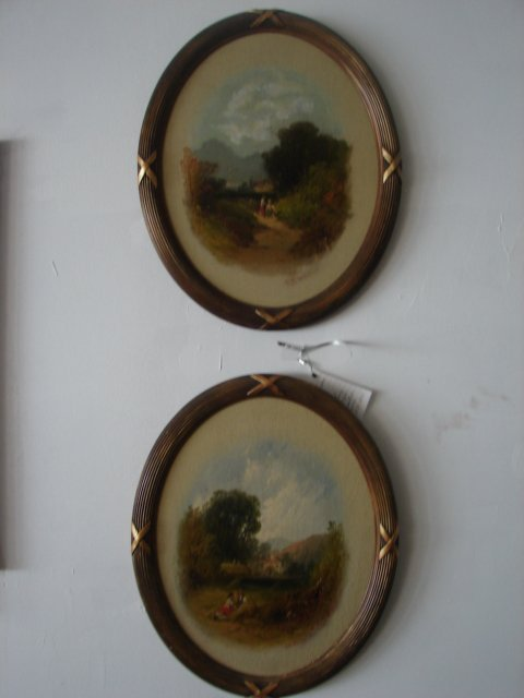 Pair of Oval Oil on Boards Signed  Nicholson