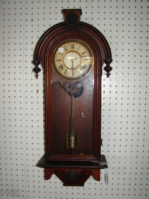Walnut Wall Clock with Jenny Lind Head