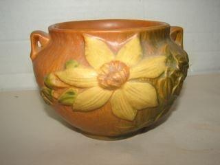 "Roseville Clematis Vase 4"" Roseville Vase.  VEry good"