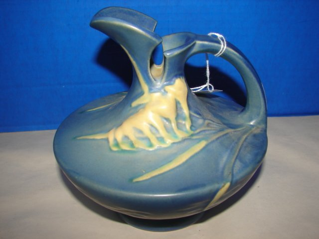 """Roseville  Freesia Ewer 6"""" blue Roseville Freesia Vase."""