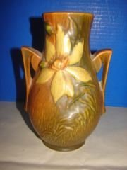 "Roseville Clematis Vase 81/2"" Roseville vase.  Very"
