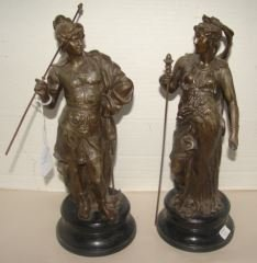 """Pair of Spelter Figures 14"""" tall.  Very good conditon."""