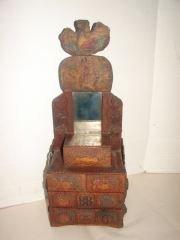 Tramp Art Dresser with Inscription Tramp art dresser