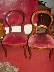 2 Victorian Walnut Balloon Back Chairs