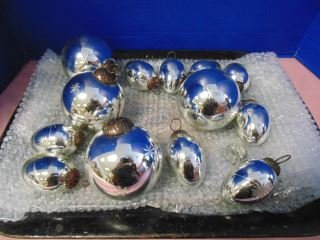 Group of Silver Etched Christmas Ornaments