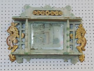 Paint Decorated Mirrored Wall Shelf