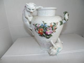 German Porcelain Vase with Applied Cats
