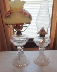 Pair of Candlewick Glass Oil Lamps
