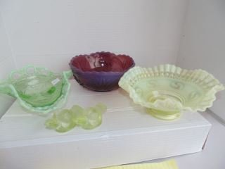 Group of Opalescent & Colored Glass