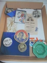 Group of Political Pins, Ribbons, Etc.
