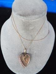Victorian Heart Locket on 14K Long Chain