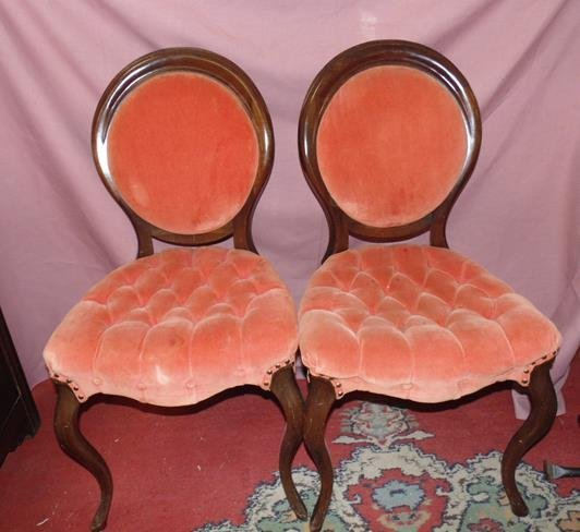Pair of Tufted Balloon Back Chairs
