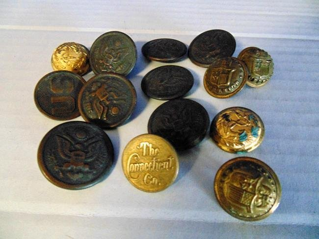 Group of Metal Military Buttons