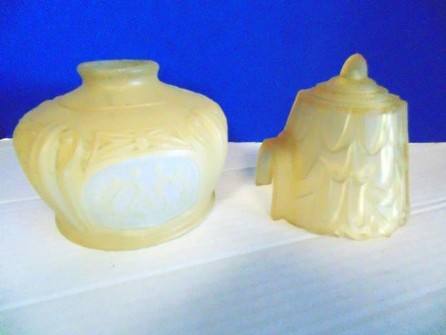 2 Etched Art Deco Glass Light Shades