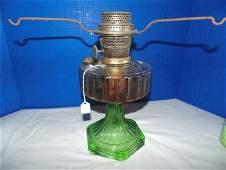 Aladdin Green Glass Oil Lamp