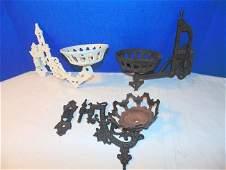 3 Cast Iron Oil Lamp Wall Bracket Holders