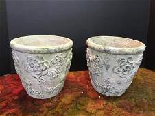 Pair of Cement Flower Urns
