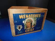 Wenatchee Indian Chief Advertising Wood Crate