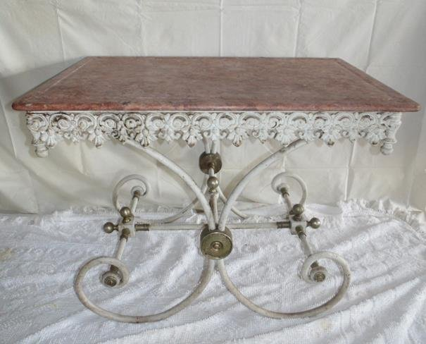French Marble Top Iron Base Ornate Pastry Table