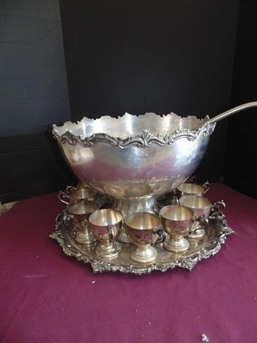 & Silver Plate Punch Bowl Set