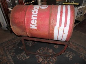 Kendall Oil Drum On Gas Station Rolling Cart