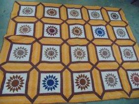 Hand Stitched Quilt Sun Pattern