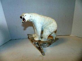Porcelain Polar Bear Mounted On Crystal Iceberg