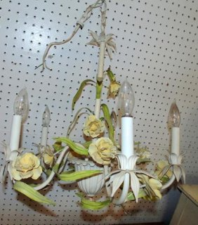Wrought Iron Floral Hanging Light Fixture