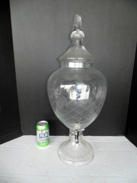 Apothecary Cut & Etched Glass Dispenser