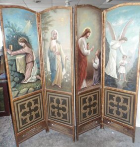 Religious Hand Painted Privacy Screen
