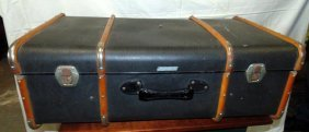 Vintage Suitcase With Wood Straps